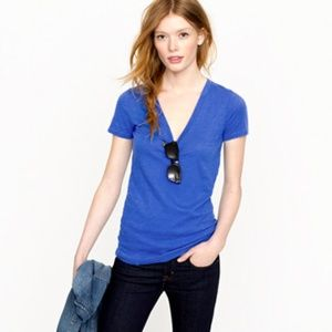J. Crew Blue Vintage Cotton V-neck Tee Size Small